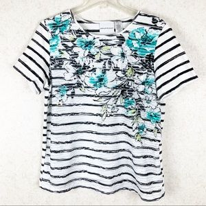 Alfred Dunner sequin floral stripe top